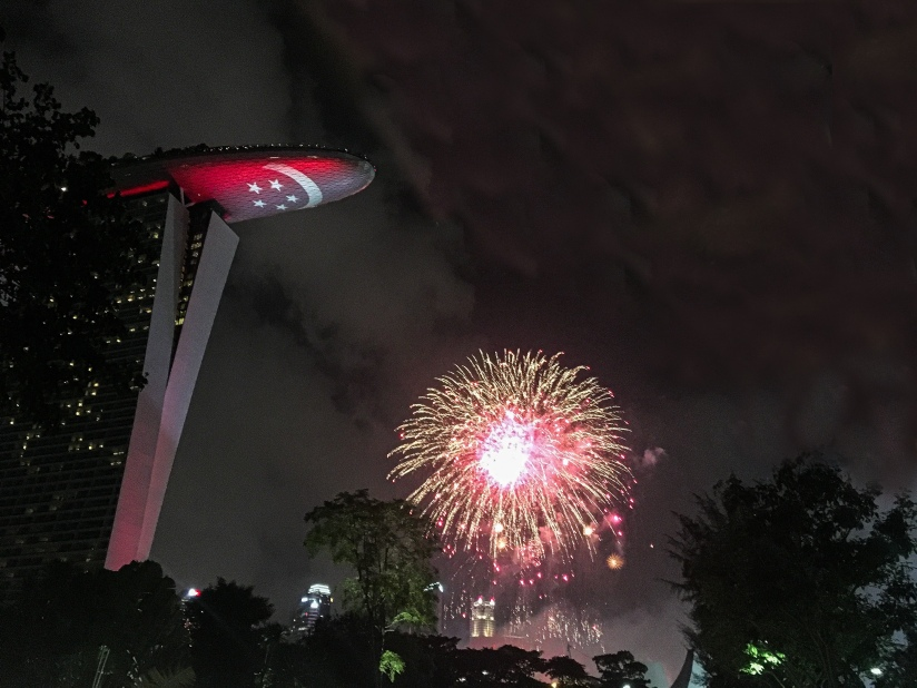 Two Days In Singapore - Firework Behind Marina Bay Sands Hotel